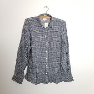 Jcrew Factory Navy Gingham Button Down Shirt